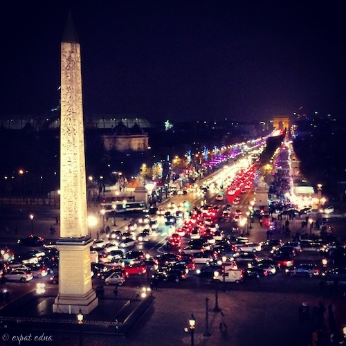 Champs Elysees from Concorde, Paris at Christmas by Expat Edna