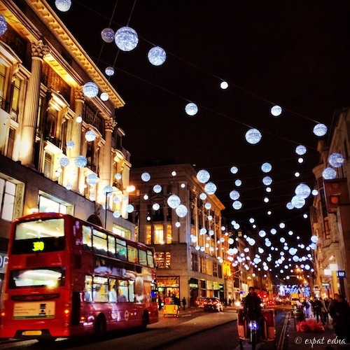 Oxford Circus, London at Christmas by Expat Edna