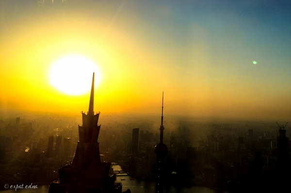 Sunset from the SWFC, Shanghai by Expat Edna