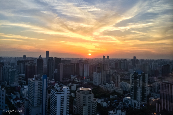 Sunset over Shanghai by Expat Edna