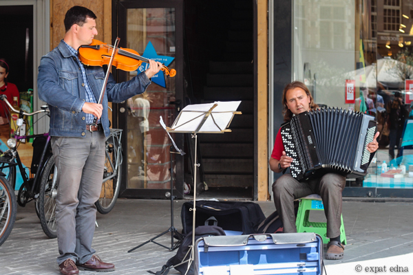 Viola and accordion buskers, Ghent, Belgium by Expat Edna