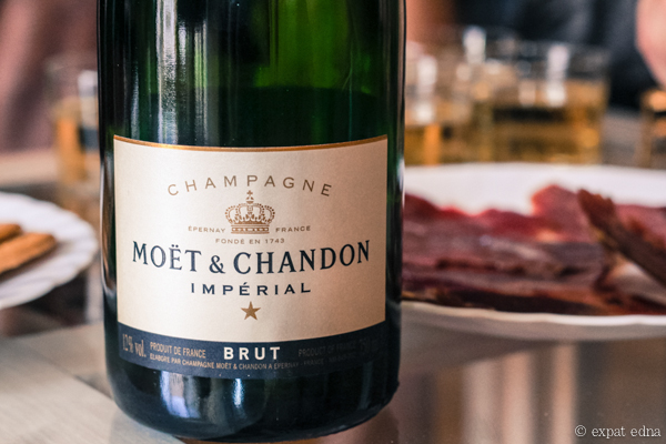 Champagne and ham, Madrid by Expat Edna