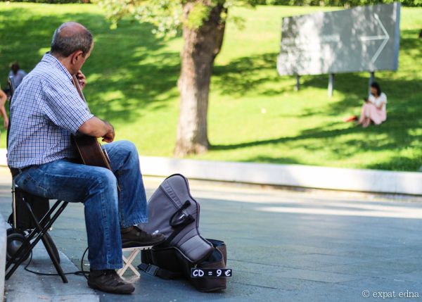 Guitarist outside the Prado, Madrid by Expat Edna
