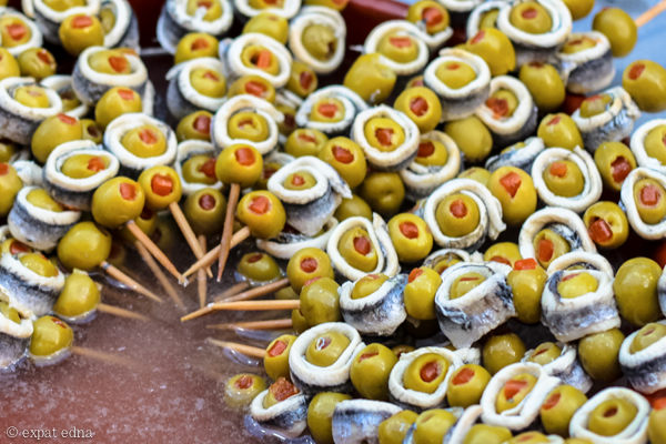 Olive and anchovy skewers, Madrid by Expat Edna