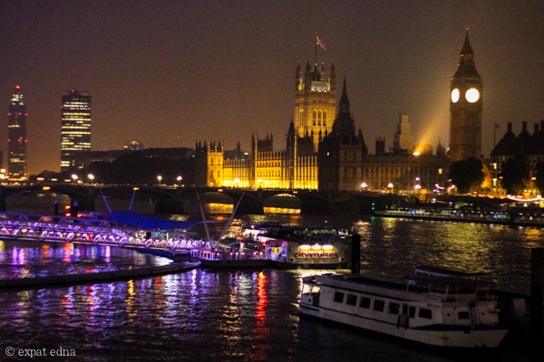 Parliament and Big Ben by night, London by Expat Edna