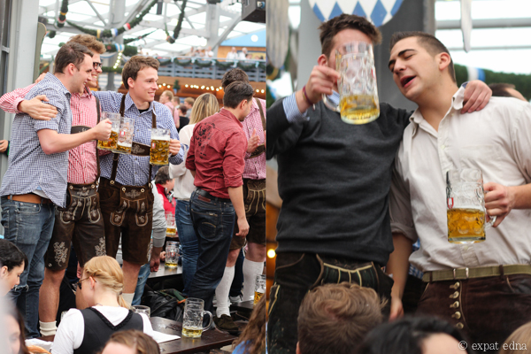 Guys on tables with beer - Oktoberfest, Munich by Expat Edna