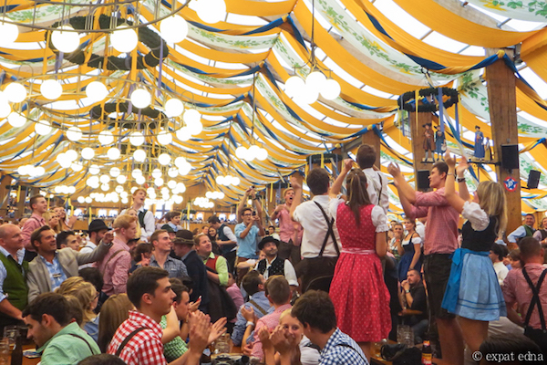 Inside the Oktoberfest tent by ExpatEdna.com