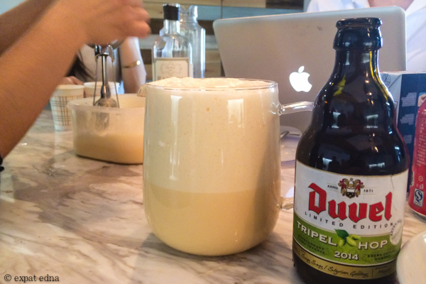 Making Eggnog and Belgian beers on Christmas Eve by Expat Edna