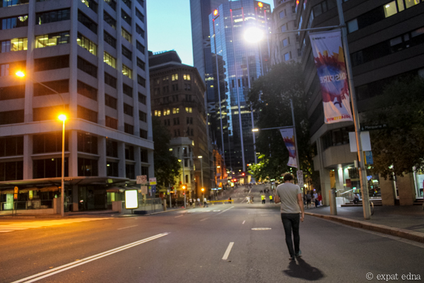 Empty streets of Sydney on NYE by Expat Edna