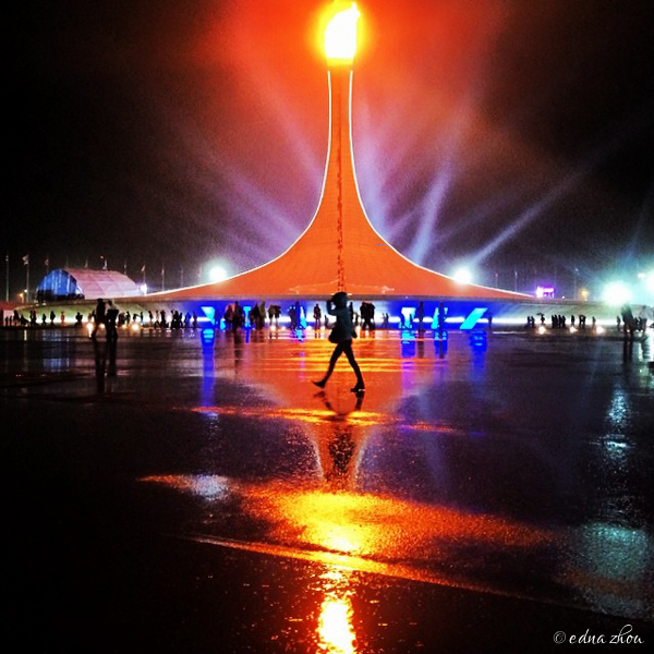 Sochi 2014 Olympic flame rain reflection by Edna Zhou