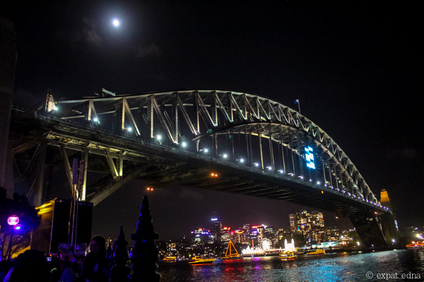 Sydney NYE Harbour bridge by night by Expat Edna