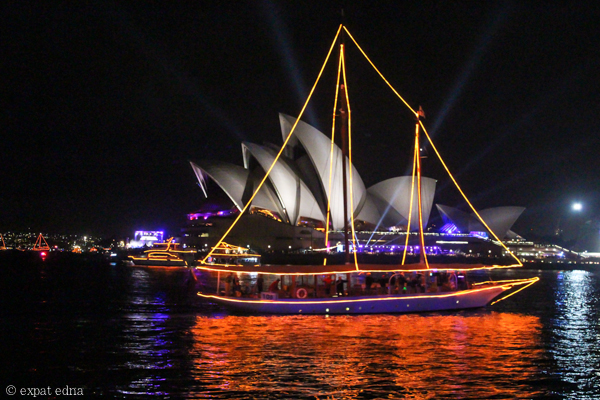 Sydney NYE boats by night by Expat Edna