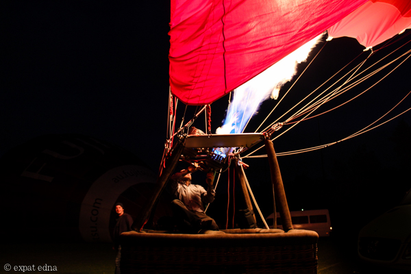 Firing up the hot air balloon by Expat Edna