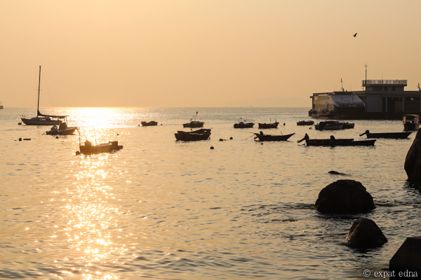 Lamma Island boats at sunset, Hong Kong by Expat Edna