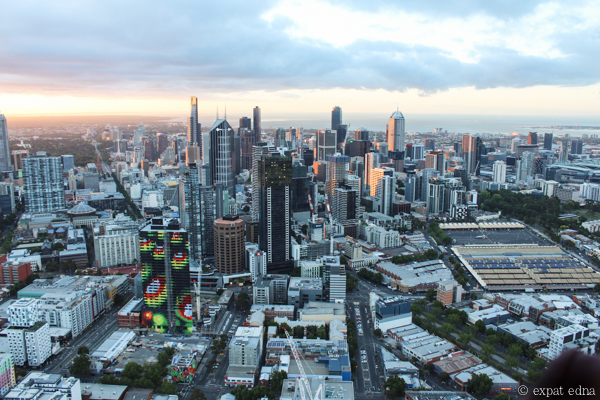 Melbourne cityscape by hot air balloon by Expat Edna