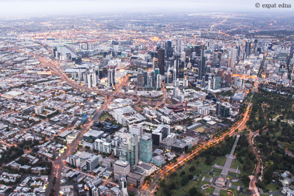 Melbourne from above before sunrise by Expat Edna