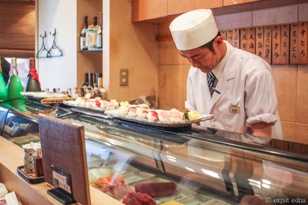 Dancing sushi chef, Nakameguro by Expat Edna
