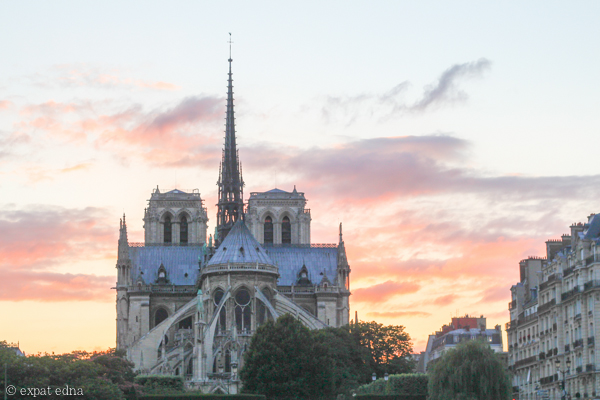 Notre Dame sunset by Expat Edna