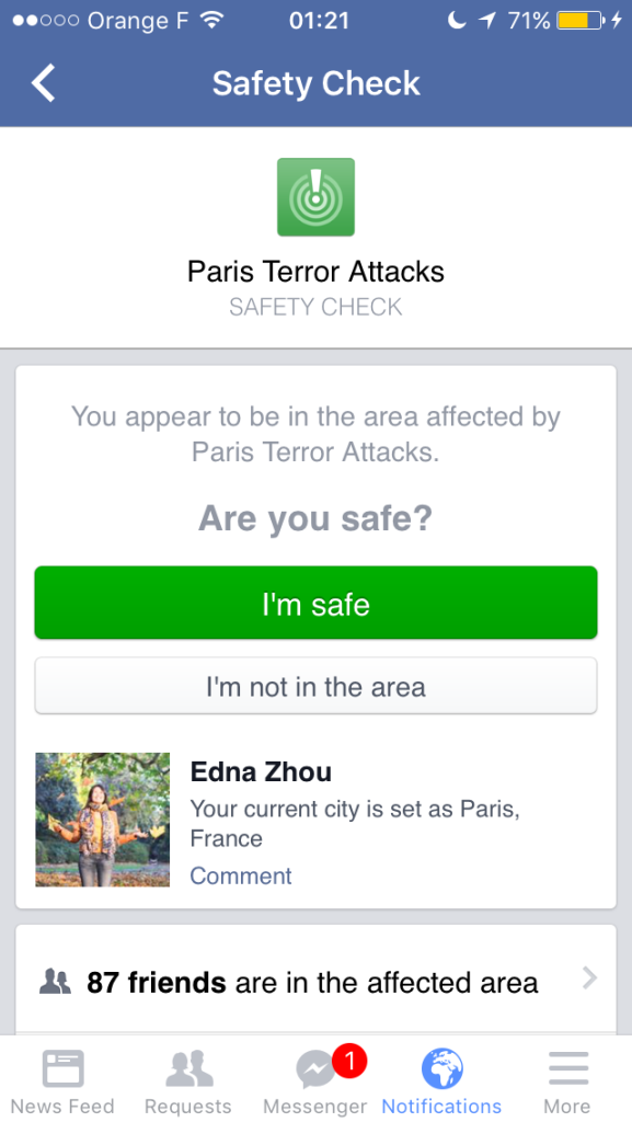 Paris Attacks Safety Check on Facebook - ExpatEdna.com