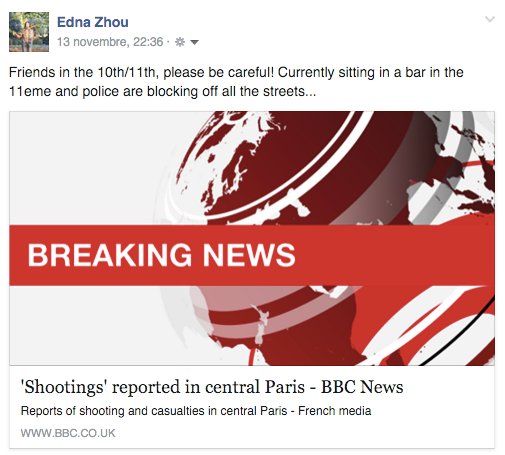 Paris Attacks first report on BBC