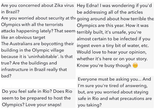 Rio questions from followers